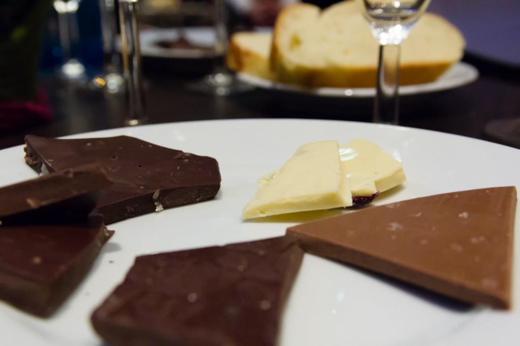 Schokolade passend zu der Weinprobe