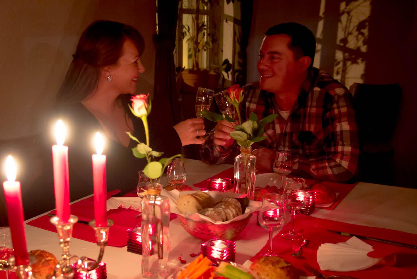 Romantische Weinprobe